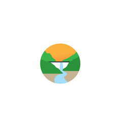 Dam with waterfall nature view logo icon design vector