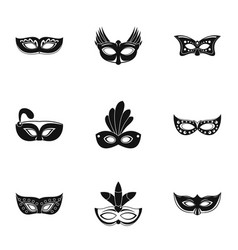 Disguise icons set simple style vector