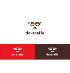Done cafe with face logo vector