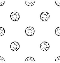 Donut pattern seamless black vector