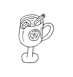 Doodle style mulled wine in a glass vector