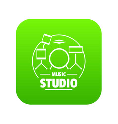 drum kit icon green vector image