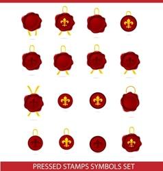 Elegance tags mark pressed stamps set vector