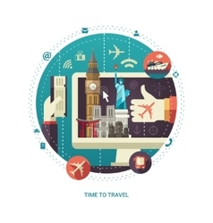 Flat design travel composition with world famous vector image
