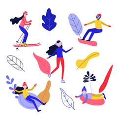 flat people enjoying winter sports set vector image
