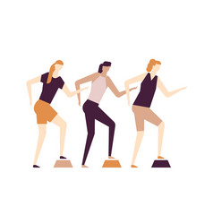 girls doing fitness - flat design style colorful vector image