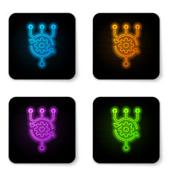 glowing neon algorithm icon isolated on white vector image
