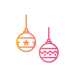 Gradient pink to orange christmas ball vector