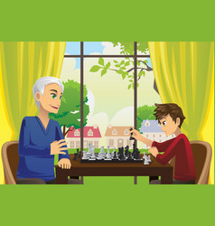 Grandfather and grandson playing chess vector