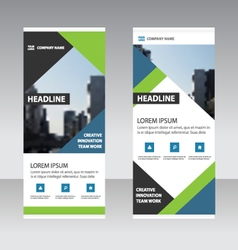 Green blue triangle Business Roll Up Banner flat vector image