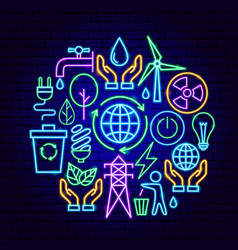 green energy neon concept vector image