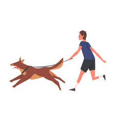 guy walking with his dog young man running vector image