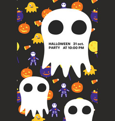 halloween invitation card with big ghost and text vector image