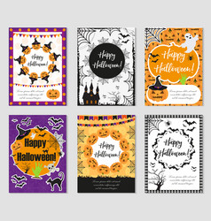 halloween set of trendy postershappy halloween vector image