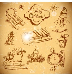 Hand-drawn New Year and Christmas set vector image