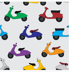 hand drawn seamless pattern with scooters vector image