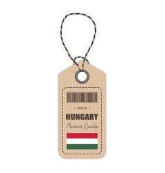 hang tag made in hungary with flag icon isolated vector image