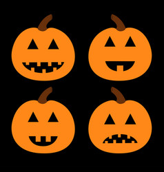 happy halloween pumpkin set funny creepy smiling vector image