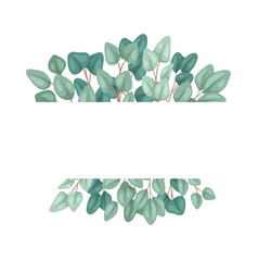 horizontal frame with flat eucalyptus and place vector image