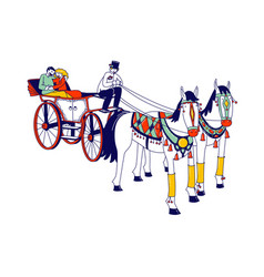 Horse drawn touristic carriages with young couple vector