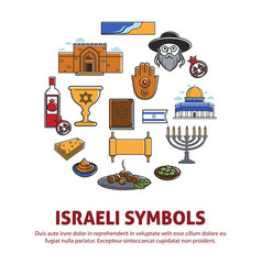 Israel travel landmarks and culture symbols vector