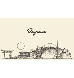 Japan skyline drawn sketch vector
