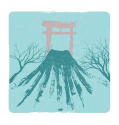 japanese volkano pagoda vector image