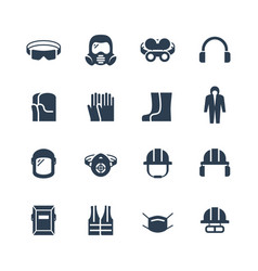 Job safety and protection icon set vector