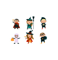 kids in halloween costumes set funny children vector image