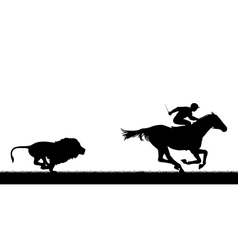 Lion chasing racing horse vector image