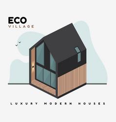 luxury modern houses flat eco village vector image