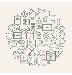 Medical Health Care Line Icons Set Circular Shaped vector image