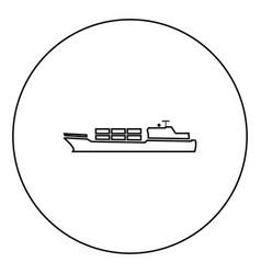 Merchant ship icon black color in circle vector