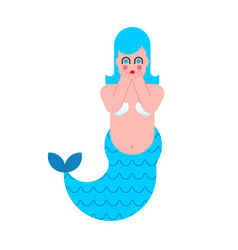 mermaid frightened mythical sad woman with fish vector image