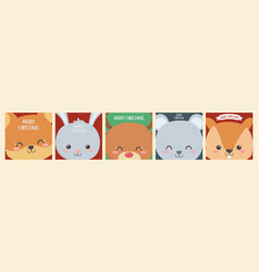 merry christmas celebration cute animals heads vector image