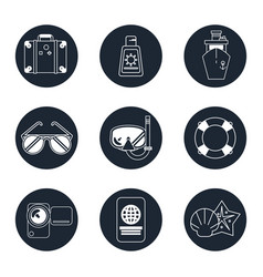 monochrome icons set of beach vacation in round vector image