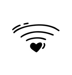 monoline heart how wifi icon valentines vector image