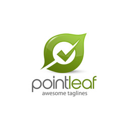 natural green leaf with check mark on center logo vector image