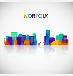 norfolk skyline silhouette in colorful geometric vector image