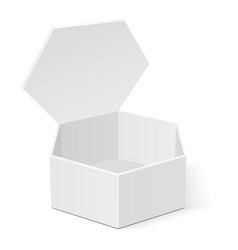 Open white cardboard hexagon box packaging for vector