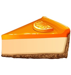 Orange cheesecake with jam vector