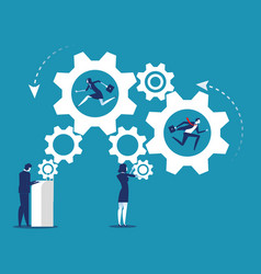 people and business industry working gears vector image