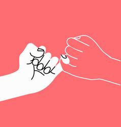 Pinky swear promise hand vector