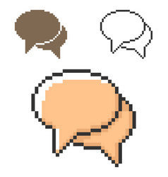 pixel icon two blank speech bubbles dialogue vector image