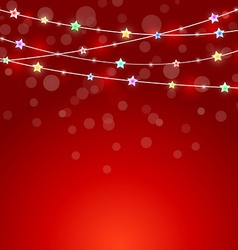 Red holiday background with colored lights vector