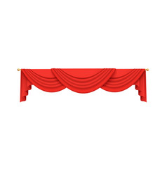 Red velvet curtain valance decoration hanging from vector