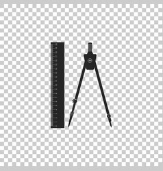 ruler and drawing compass icon isolated vector image