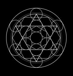 Sacred geometry symbol metatrons cube on black vector