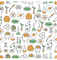 Science flat line art seamless pattern vector