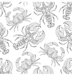 seamless pattern with lobsters and crabs vector image